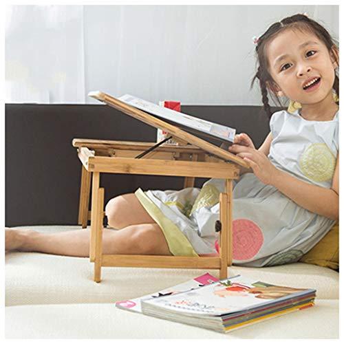 Table Pliante Lit de Bambou Pliable Bureau Paresseux-étudiant Bureau écrit Anti-myopie (Taille : 55x35x22.5-31.5cm)