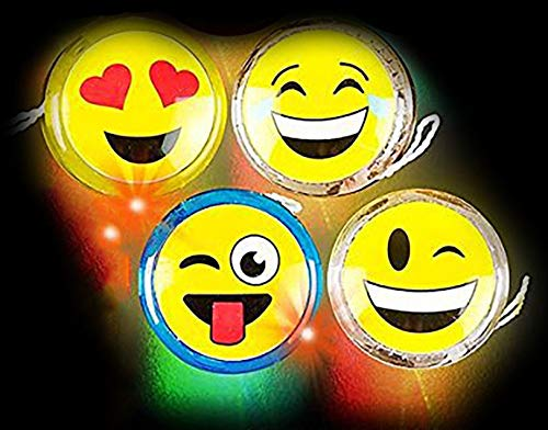 Kicko Emoji Yoyo - 4 Pack Light-up Faces Yellow Smiling Retractable String Toys - Summer Field Day and Everyday Kids Toy, or Party Favor