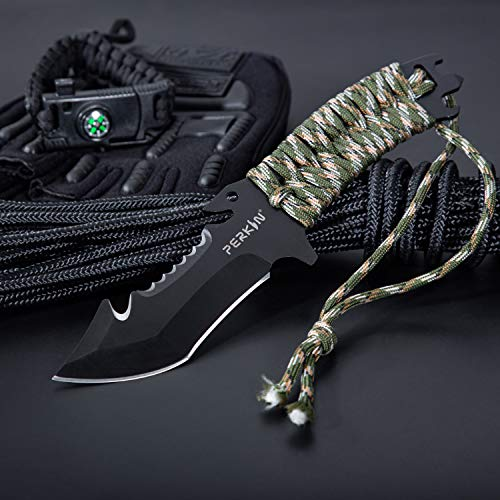Perkin Hunting Knives CH999 Hunting Knife With Sheath Fix Blade Knife Tanto blade And with Gut Hook