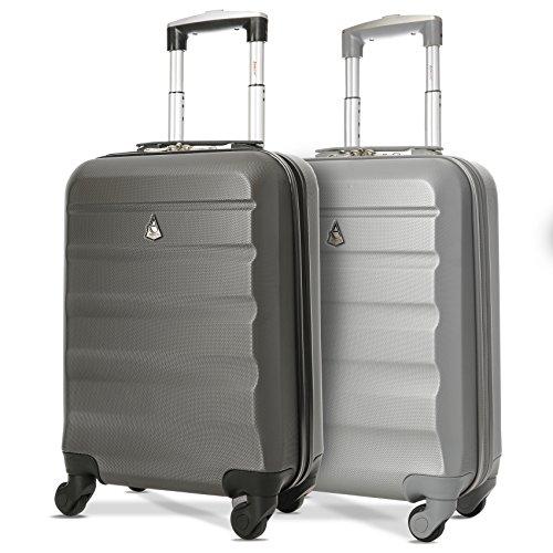 Aerolite Leichtgewicht ABS Hartschale 4 Rollen Handgepäck Trolley Koffer Bordgepäck Kabinentrolley Reisekoffer Gepäck, Genehmigt für Ryanair, easyJet,2 Teilig, Silber + Holzkohle
