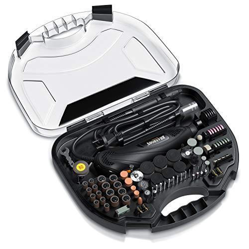 Brandson - Multifunktionswerkzeug mit 212-teiligem Zubehör – Werkzeugkoffer – schneiden schleifen polieren gravieren bohren – Rotationswerkzeug Feinbohrschleifer - kompatibel mit Dremel Zubehör
