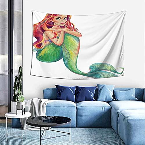 Tapiz bohemio para colgar en la pared, diseño de mandala de princesa Ariel para dormitorio, sala de estar
