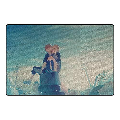 """GUANGZHENG Haikyuu !!Teppich Zwei Personen, die auf TV-Muster Anime-Stil-Teppich-Wohnzimmer-Schlafzimmer, rutschfeste Matte sitzen (Material : Short Plush, Größe : 3\'9\""""x5\'9\""""(120x180cm))"""