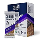 SHANTI BAR Vegan Sport Protein Bar + Immunity Boosting Prebiotics | Plant Based, Paleo, Organic, Gluten Free, Superfoods, Raw Snack | BALANCE Gut Health Blueberry Matcha | 12 Count, 2 oz Bars