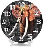 AZHOULIULIU Co.,ltd Elefante Idnian Relojes de Escritorio Decoración silenciosa para Oficina Den Creatividad Precisa