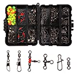 140pcs/box Fishing Swivel Snaps Kit Include Ball Bearing Swivel Snap Barrel 3 Way Triple Swivel Connector Clips Fishing Beads Fishing Accessories Set