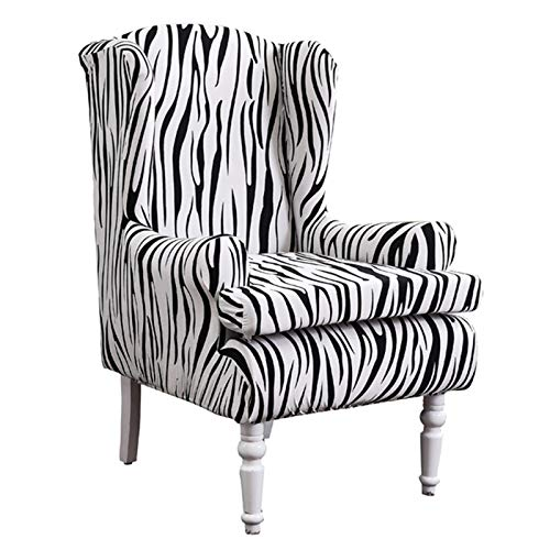 NIBESSER Wing Chair Slipcovers Cushion Cover Spandex Stretch Wingback Chair Cover Pattern Armchair Sofa Cover,Furniture Protector Removable Washable for Living Room,Bedroom Hotel(Zebra)