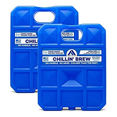 Arctic Ice Chillin' Brew Series Long Lasting High Performance Ice Pack for Beer, Beverages, Tailgating, Day Trips and More - Freezes at 28 Degrees (2-Pack) (Small .75 LB)