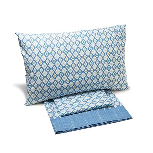 Caleffi Completo Lenzuola Matrimoniale Ikat in Cotone Azzurro