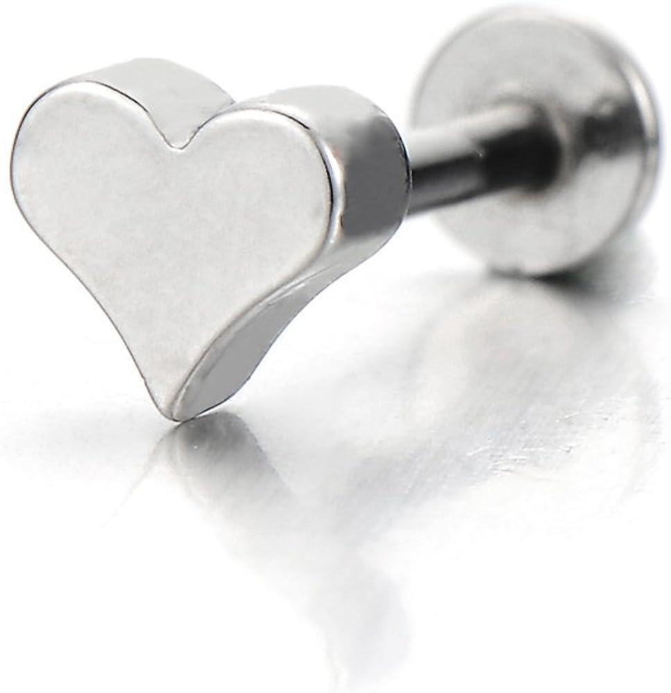 COOLSTEELANDBEYOND Steel Heart Lip Stud Ring Piercing Labret Monroe Bar Chin Tragus Body Jewelry