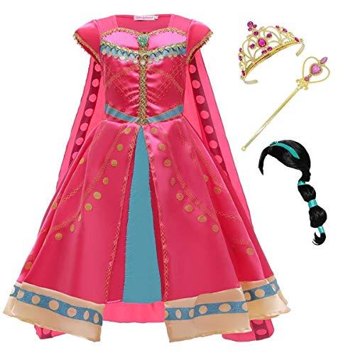 Kosplay Niña Aladdin Princesa Jasmine Disfraz Rosa roja Traje Cosplay Actuación Carnaval Navidad Regalo Cumpleaños Vestido de Princesa 3-10Años 100-150cm