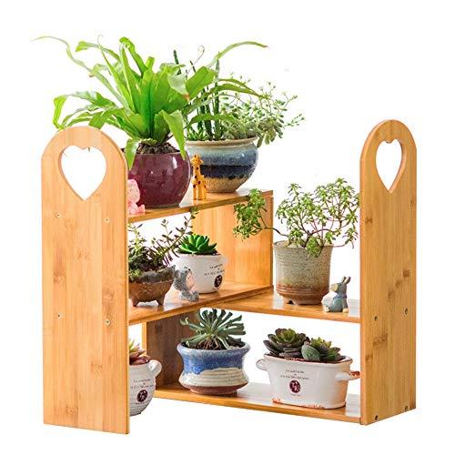 Jardinière Plante succulente Bamboo Stand Bamboo Desktop Viande Puzzle Flower Stand étagère Bureau Rangement Pot Rack Conteneurs Plantes et Accessoires (Couleur : A, Size : Free Size)