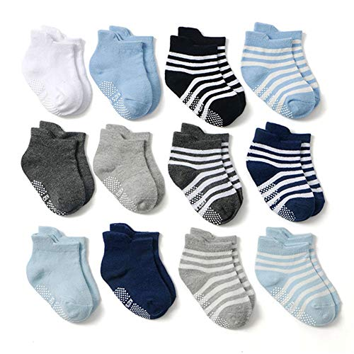 Z-Chen Calcetines Antideslizantes para Bebé Niños (Pack de 12 Pares), Niños, 1-3 Años