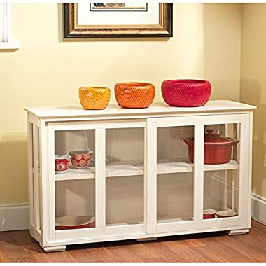 Transitional Glass Door Stackable Cabinet,Tempered Glass by Simple Living