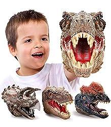 2. Geyiie Dinosaur Hand Puppets (Set of 3)