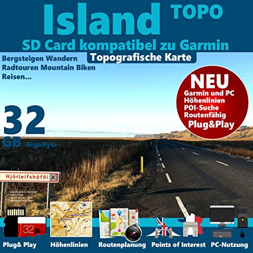 ★ISLAND GPS Karte 4GB microSD für Garmin Navi, PC und MAC ★ ORIGINAL von STILTEC ©