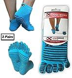 YogaAddict Yoga Pilates Full Toe Socks, 2 Pairs Set, Barre, Dance, Non Slip