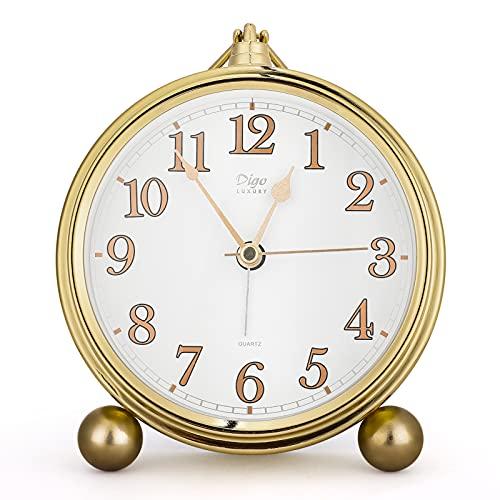 Despertador, Upkey Despertador Analogico con Pantalla Grande Redonda de 4.5 Pulgadas,Clásico Despertador de Cabecera,Reloj Despertador Súper Silencioso para Sala de Estar, Dormitorio, Mesita de Noche
