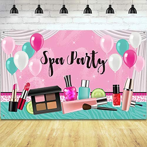 Girl Spa Party Backdrop Sweet Pink Princess Makeup Birthday Photography Background Spa Theme product image