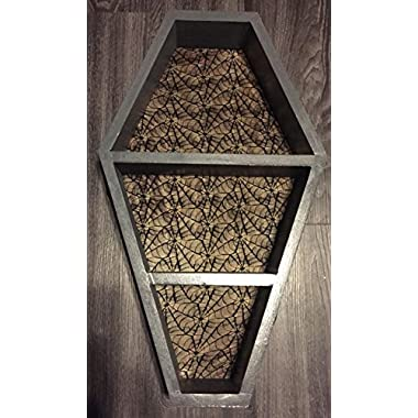 JOANNDLES Coffin Wall Shelf Black Wood 5 to Choose Dracula Style Gothic Home Decor 22-1/2 L x14-1/2 W x 3-1/2 D (Black Wood Spider Back)