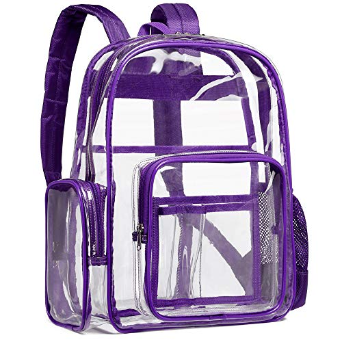 Clear Backpack, F-color Heavy Duty Clear Backpack Reinforced Straps, With Waterproof Oxford Fabric Transparent Clear Bag for Adults, Girls, Boys, School, Security, Stadium, Work, Travel, Purple