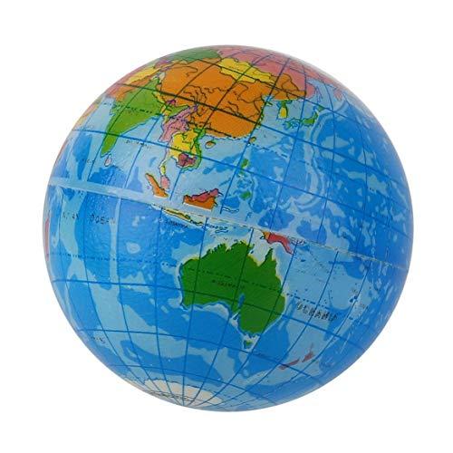 SHTAO Mapa del Mundo Azul Espuma Globo terráqueo Alivio del estrés Bola Hinchable Atlas Geografía Juguete TH092 Anime a los niños a Hacer Ejercicio