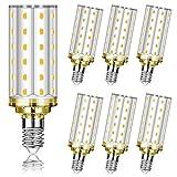 6 Pezzi Lampadina LED E14 12W Equivalenti a 100W, Eofiti E14 LED 1200 Lumens Alta luminosità e Risparmio Energetico Lampade LED E14 Luce Bianco Caldo 2700K per Mais Lampadario