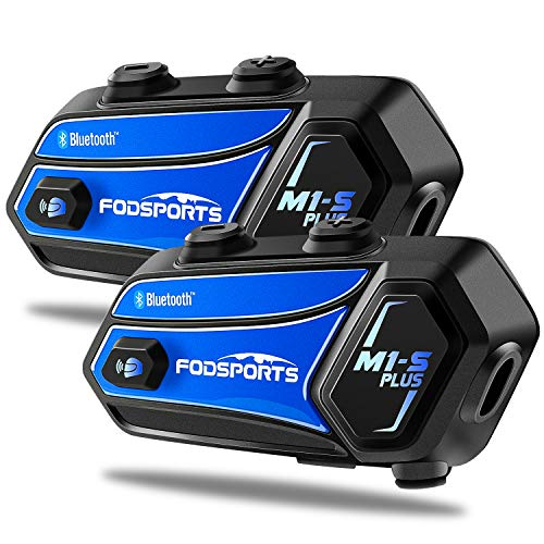 Fodsports M1-S PLUS Motorcycle Bluetooth Headset with Music Sharing, Microphone Mute, FM, Powerful 900mah Battery, Helmet Intercom up to 8 Riders with Noise Cancellation, Wonderful Sound, Blue, 2 pack