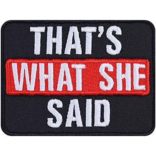 That's What SHE Said Aufnäher Aufbügler Hipster Patch Influencer Abzeichen Motivation Sticker lustiger Spruch Bügelbild Entrepreneur Blogger Geschenk DIY Applikation T-Shirt/Jacke/Tasche 80x60mm