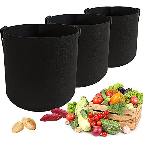 3 bolsas para plantas, bolsas para plantas, maceta, tamaño grande, 19 L, fieltro negro, ensalada, tomates, fresas, pimientos, calabacines, patatas y patatas