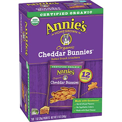 Annie's Organic Cheddar Bunnies Baked Snack Crackers, 12 count, pack of 4