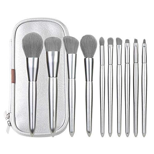 GONGFF Kit de pinceaux de Maquillage Multifonctionnel Fondation Fard à Joues Brosse Ombre à paupières avec Outils de Sac en Cuir, Argent