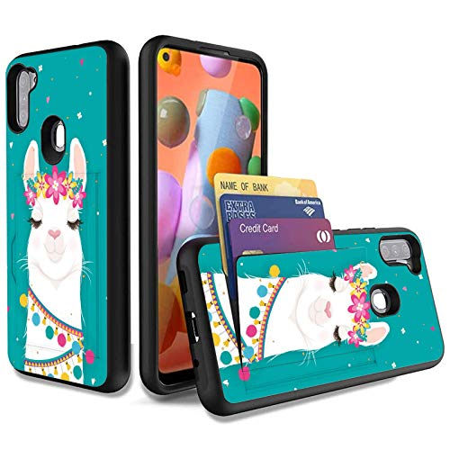 Galaxy A11 Wallet Case,Wkooff Slim Protective with Credit Card Holder Dual Layer Hybrid Shockproof Anti Scratch PC + TPU Case Cover Compatible with Samsung Galaxy A11,Cute Llama