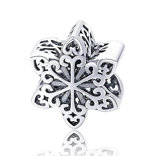 LIJIAN DIY 925 Sterling Jewelry Charm Beads Elegante Copo De Nieve Calado Hacer Originales Pandora Collares Pulseras Y Tobilleras Regalos para Mujeres
