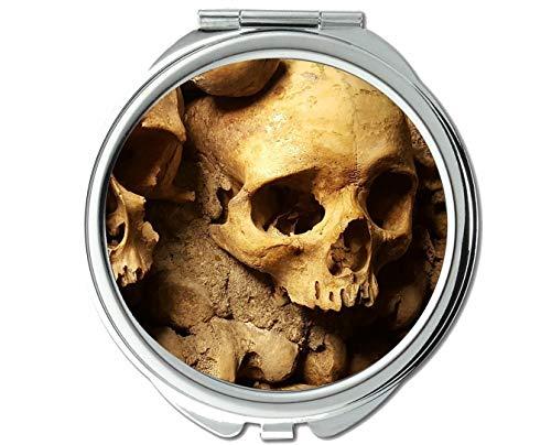 Yanteng Spiegel, Kompaktspiegel, Katakomben, Paris, Totenkopf, Taschenspiegel, 1 x 8-fache Vergrößerung