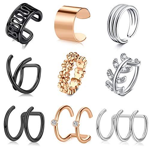 Crdifu Ear Cuffs Pendientes de Clip de Oreja de Acero Inoxidable Pendientes de Caracol de hélice no Perforados Falsos para Mujeres