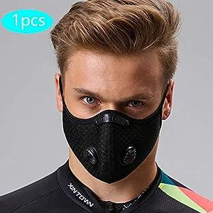 51FBBzqFMlL. SS300  - Protección Bucal Lavable y Reutilizable Alergia Antipolen Negra con Válvula, Protección Bucal con 1 Protección Bucal + 5 Reemplazar para Correr, Bicicleta de Montaña, Actividades al Aire Libre