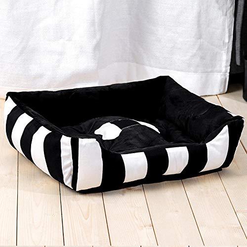 Cama para Mascotas, con una Alfombra Suave para Mascotas, Cama para Gatos Perros, Cama Suave de Felpa de tamaño Mediano -Wowo Negro a Rayas_80 * 60 CM