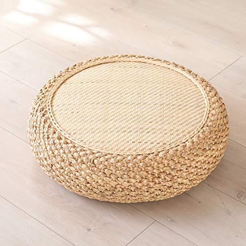 MAHAO Straw Flat Seat Cushion, Handmade Floor Pouf Mat, Ottoman Footstool for Meditation, Zen, Yoga Practice or Buddha ((19.7' Dia. x 6.7' H))