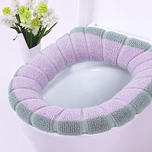 YAMY Toilet Seat Cover Pads,Washable Toilet Seat Ring Cover,Winter Warm Soft Toilet Seat Cushion Mat,Toilet Lid Seat Cover Pads Bathroom Toilet Lids Covers,Best Gift for Your Family (B)