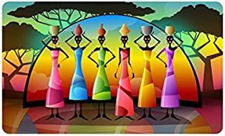 Felpudo para mujer africana, alfombrilla de entrada, alfombra de entrada, interior y exterior, de goma, antideslizante, ta...