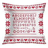 Golee Throw Pillow Cover Red Letters Cross Stitch Uppercase Alphabet with Numbers and Symbols Pattern Design White 8Bit Decorative Pillow Case Home Decor Square 18x18 Inches Pillowcase