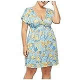 ASDVB Vestido de mujer de talla grande, informal, cuello en V, estampado con cordón, cintura alta, manga corta azul M-36/38/40