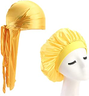 Unisex Silky Durag Long Tail And Wide Straps Waves For Men Solid Du-Rag Bonnet Cap Sleeping Hat YELLOW