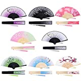 durony 8 Pieces Folding Fans Bamboo Handheld Fans Silk Fabric Fans Hand Folding Fan with Tassels for Party, Wedding, Decoration, Women Gifts