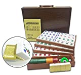 Mose Cafolo New Chinese Mahjong X-Large 144 Numbered Acrylic Tiles 1.5' Large Gold Tile with Carrying Travel Case Pro Complete Mahjong Game Set - (Mah Jong, Mahjongg, Mah-Jongg, Mah Jongg, Majiang)