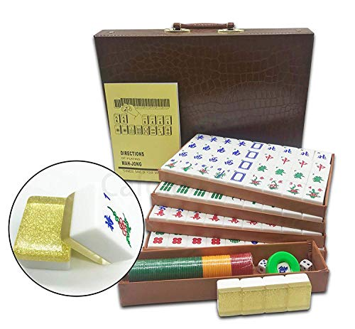 """Mose Cafolo New Chinese Mahjong X-Large 144 Numbered Acrylic Tiles 1.5"""" Large Gold Tile with Carrying Travel Case Pro Complete Mahjong Game Set - (Mah Jong, Mahjongg, Mah-Jongg, Mah Jongg, Majiang)"""