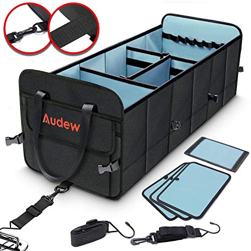Audew 1680D Kofferraumtasche 75L Auto Kofferraum Organizer mit Befestigungsgurte, Aufbewahrungstasche Faltbar und Wasserdicht, Auto& Haus, Autotasche mit Klett