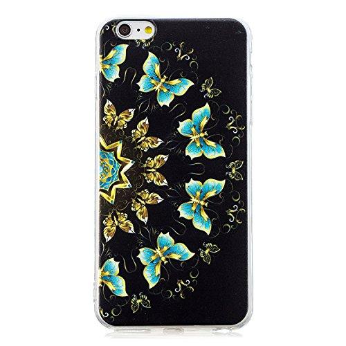 Robinsoni Funda Compatible con iPhone 6 / 6S Plus Brillo Suave Silicona TPU Gel Goma Funda con Flexible Ultra Suave Transparente Caja Ultra Delgada Carcasa Bumper Protective Shell, Mariposas