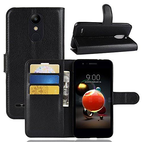 LAGUI Funda Adecuado para LG K8/K9 2018, Carcasa Tipo Libro, Cubierta de ranuras para tarjetas, Caja de soporte horizontal y solapa con cierre magnético, Caso que protege todo el teléfono. negro